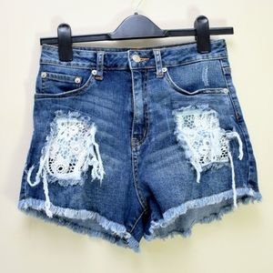 Just USA distressed high rise denim jean shorts
